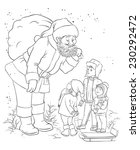 santa with children. coloring... | Shutterstock .eps vector #230292472