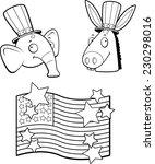 a cartoon donkey and elephant... | Shutterstock .eps vector #230298016