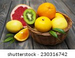 Basket  Of Citrus Fruits On A...