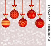 five red christmas balls on the ... | Shutterstock .eps vector #230390785