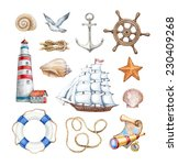 Set Of A Watercolor Nautical...