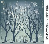Vector Winter Forest For Cards...