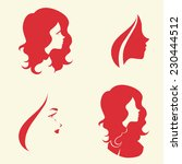 set of symbolic women heads.... | Shutterstock .eps vector #230444512