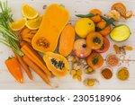 Orange vegetables and fruit