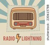 vintage radio on the sun rays... | Shutterstock .eps vector #230615788