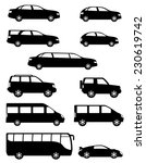 Stock vector set icons passenger cars with different bodies black silhouette vector illustration isolated on 230619742