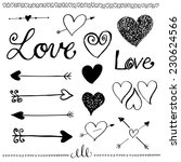 ink hand drawn doodle love set. ... | Shutterstock .eps vector #230624566