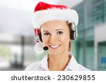 Young Business Woman In Santa...
