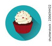 vector red velvet cupcake... | Shutterstock .eps vector #230654422