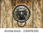 Lion Head Door Knocker On Old...