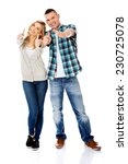 young attractive couple showing ... | Shutterstock . vector #230725078