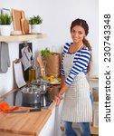 beautiful woman standing in... | Shutterstock . vector #230743348