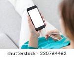 woman with headphones sitting... | Shutterstock . vector #230764462