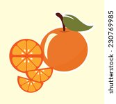 orange fruit with leaf. vector... | Shutterstock .eps vector #230769985