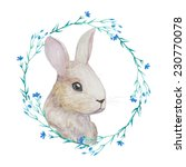 White Rabbit In Floral Wreath....