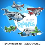 cartoon airplanes set | Shutterstock .eps vector #230799262
