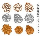vector set with pine cones... | Shutterstock .eps vector #230823658