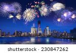 new york skyline at night with... | Shutterstock . vector #230847262