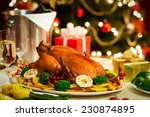 christmas turkey dinner served... | Shutterstock . vector #230874895