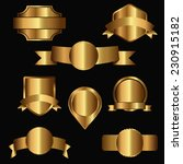 gold emblems and labels with