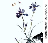 Iris Flower And Insects ...