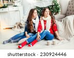 beautiful young sisters twins... | Shutterstock . vector #230924446