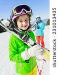 Skiing. Skiers Enjoying Winter...