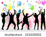 dancing silhouettes   grunge... | Shutterstock .eps vector #231020002