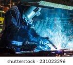 industrial steel welder in... | Shutterstock . vector #231023296