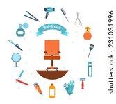 hairdresser decorative set with ... | Shutterstock .eps vector #231031996