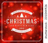 christmas greeting card light... | Shutterstock .eps vector #231044926