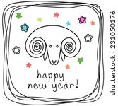Vector Doodle Sheep. Happy New...