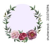 wreath  peony  watercolor | Shutterstock .eps vector #231076096