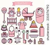 vector illustration of babies... | Shutterstock .eps vector #231076792