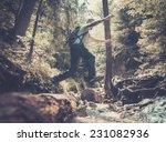 man hiker jumping across stream ... | Shutterstock . vector #231082936