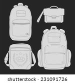set of 4 fashionable man bags ... | Shutterstock .eps vector #231091726