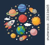 doodle planets and the sun on... | Shutterstock .eps vector #231116635