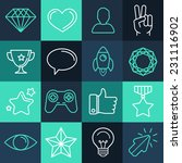 vector set of line game icons...