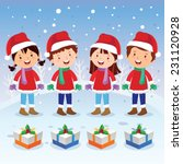 winter fun. christmas carols.... | Shutterstock .eps vector #231120928