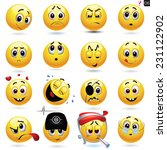 vector set of smiling ball... | Shutterstock .eps vector #231122902