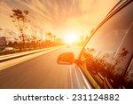 car ride on road in sunny... | Shutterstock . vector #231124882