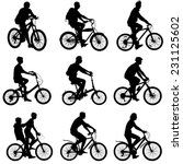 set silhouette of a cyclist... | Shutterstock .eps vector #231125602