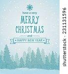 vintage winter forest landscape.... | Shutterstock .eps vector #231131596
