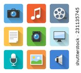 flat multimedia icons. vector... | Shutterstock .eps vector #231135745