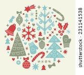 stylized retro christmas... | Shutterstock .eps vector #231141538