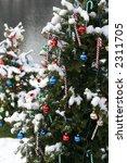 decorated xmas trees outdoors - stock photo