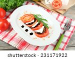 eggplant salad with tomatoes... | Shutterstock . vector #231171922