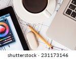 workplace designer  laptop ...   Shutterstock . vector #231173146