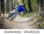 mountainbiker rides on path in... | Shutterstock . vector #231182116