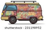 Classic Vintage Hippie Van  Bu...